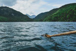 Oar rowing in mountain lake